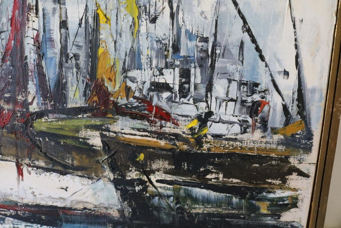1963 Abstract Oil on Canvas Harbor Scene, signed - 3