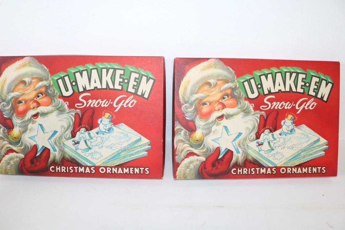 1950's U-Make-Em Snow-Glo Christmas Ornaments in