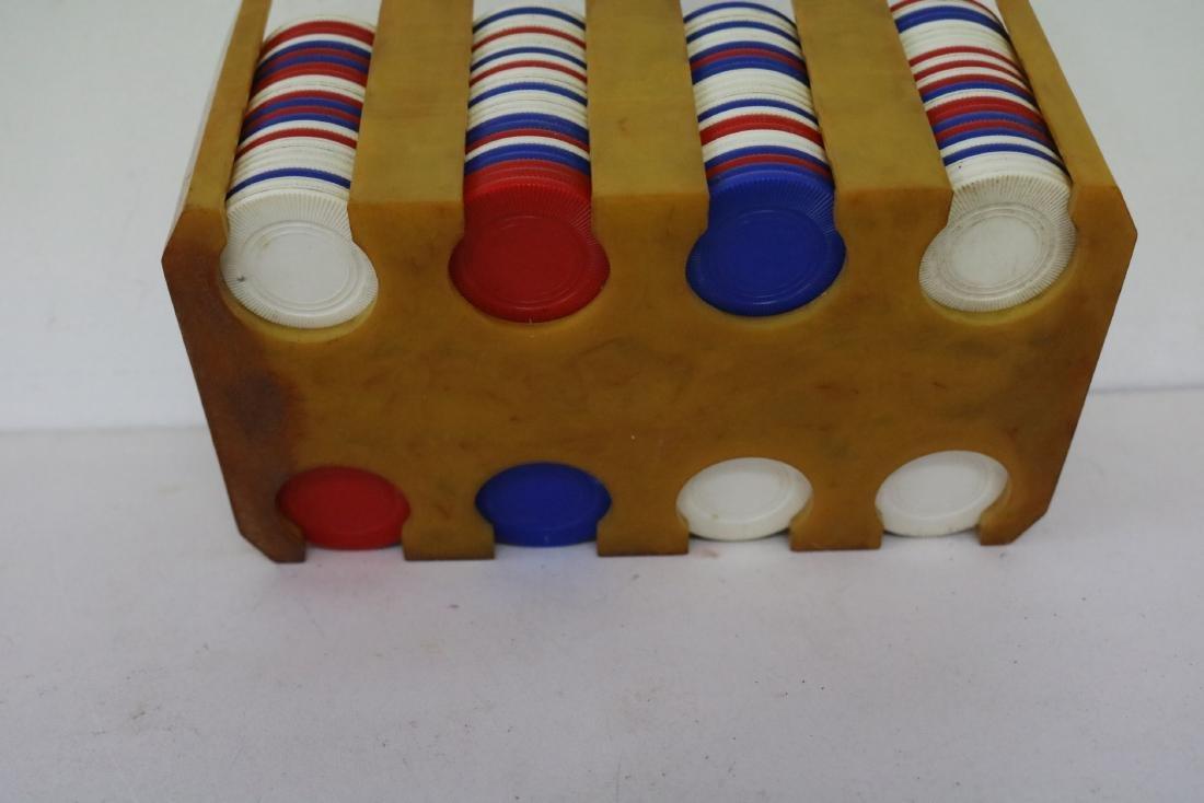 Vintage Art Deco Bakelite Poker Chip Card Rake/Holder, - 6