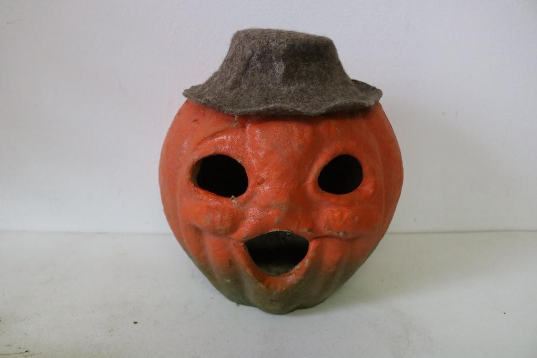 Vintage Paper Mache' Jack-o-Lantern with Felt Hat