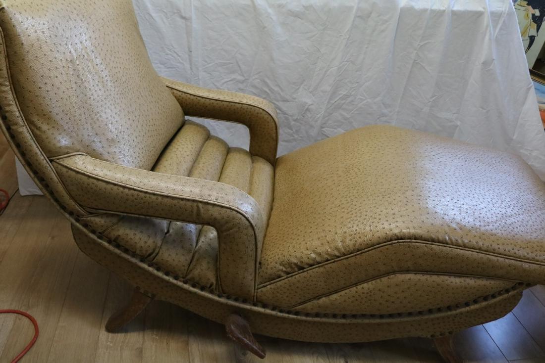 50's Vintage Contour Lounge Chair, faux Ostrich Fabric - 2