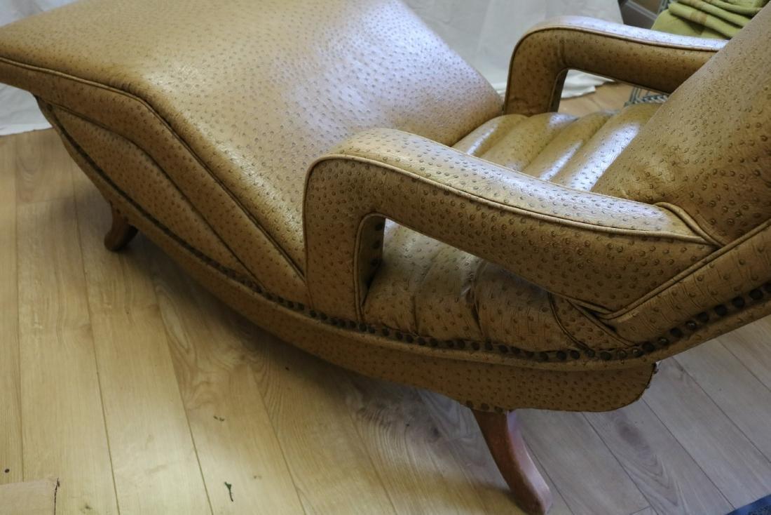 50's Vintage Contour Lounge Chair, faux Ostrich Fabric - 3