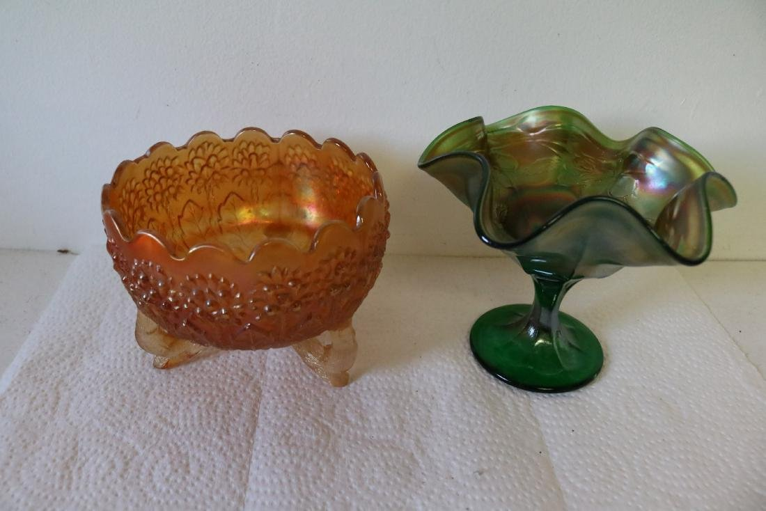 2 pieces Carnival Glass