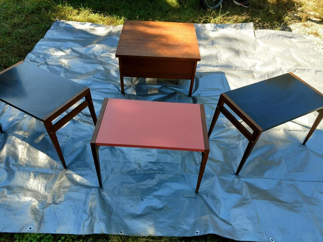 Mid-Century Teak Coffee/End Table with 3 Folding Tables