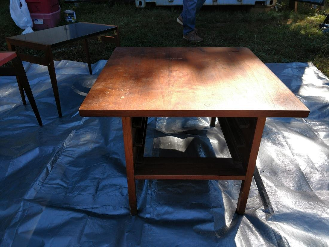 Mid-Century Teak Coffee/End Table with 3 Folding Tables - 5