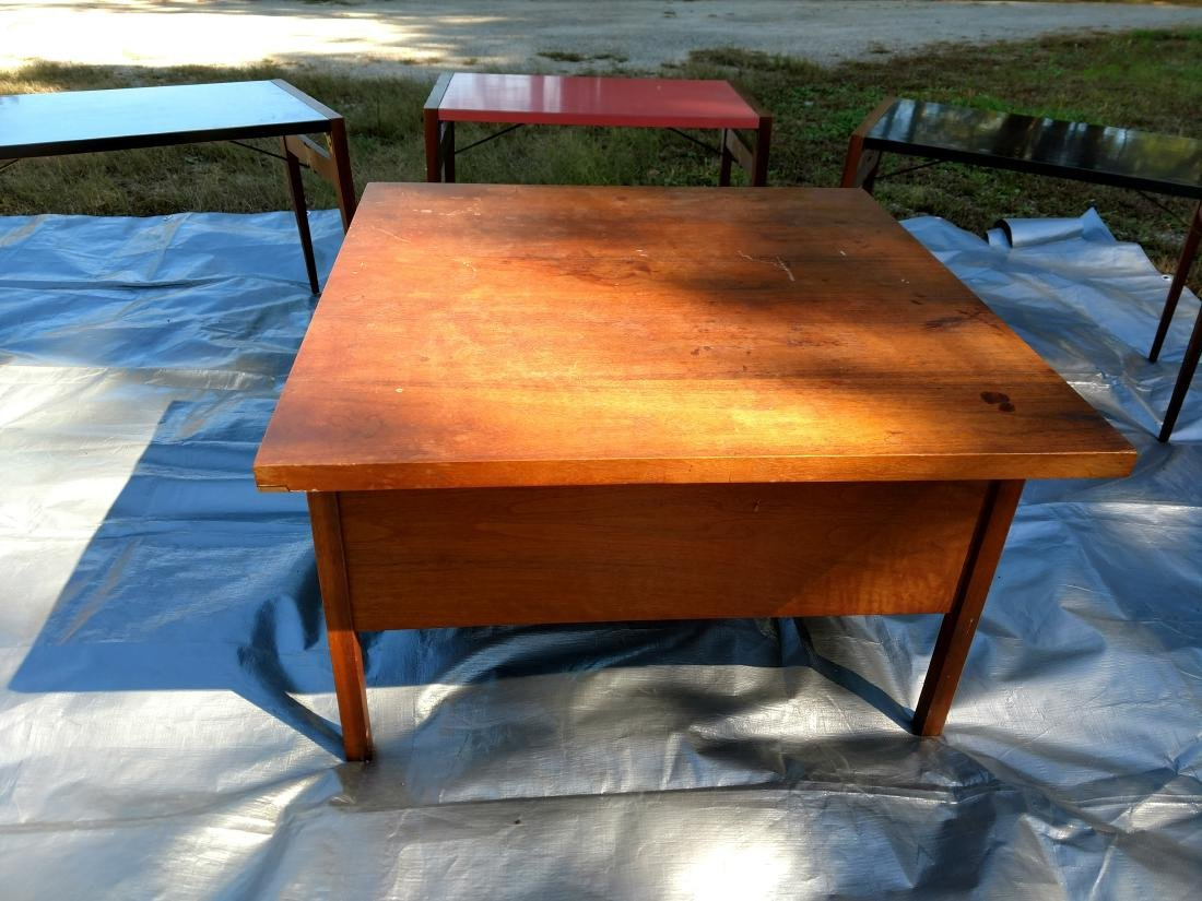 Mid-Century Teak Coffee/End Table with 3 Folding Tables - 6