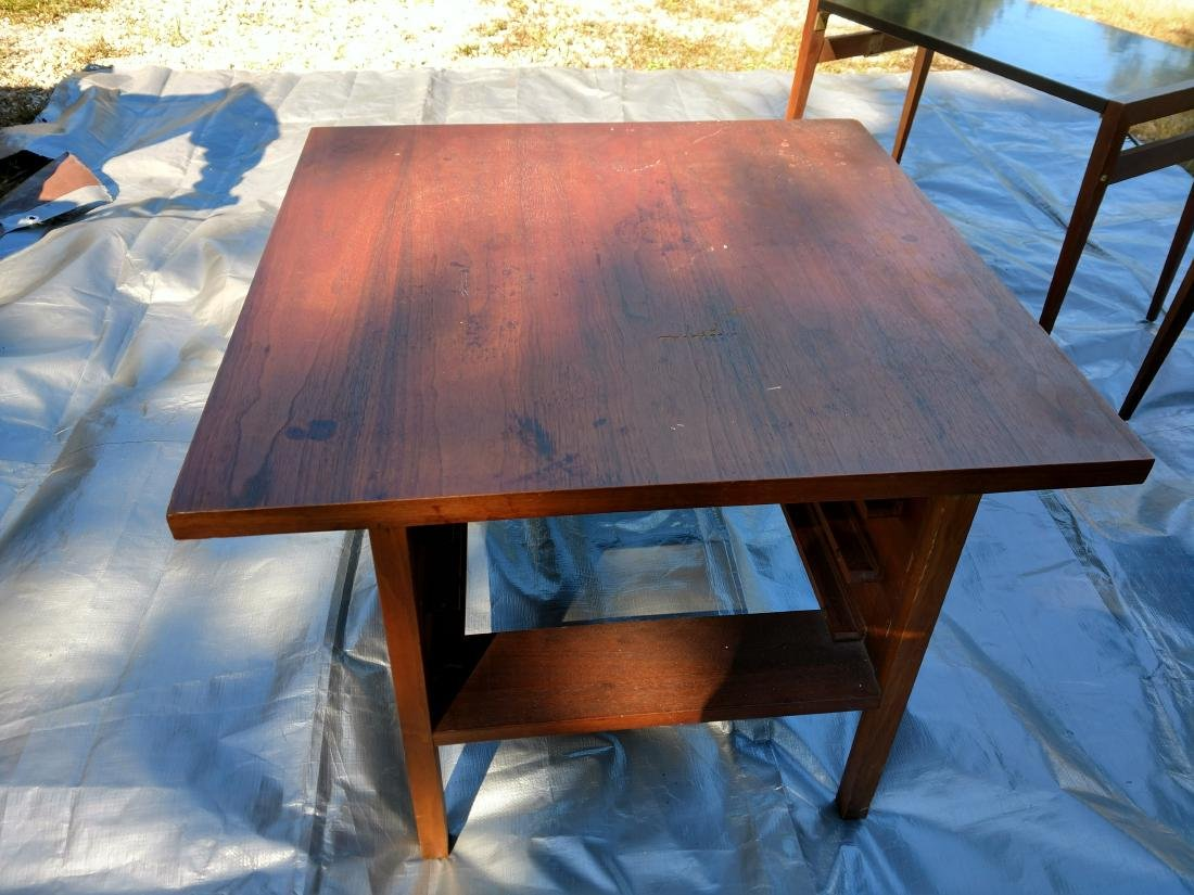 Mid-Century Teak Coffee/End Table with 3 Folding Tables - 7
