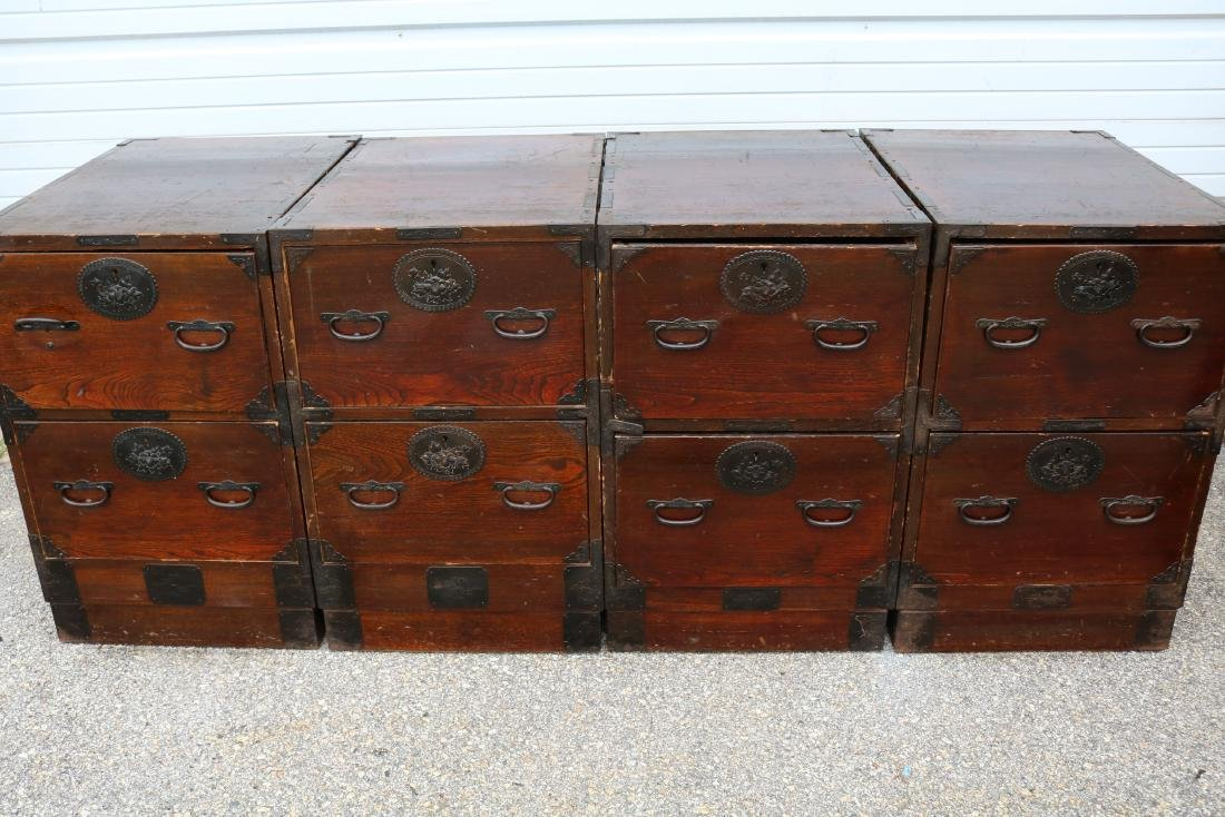Lot of 4 Mahogany 2 Draw Cabinets