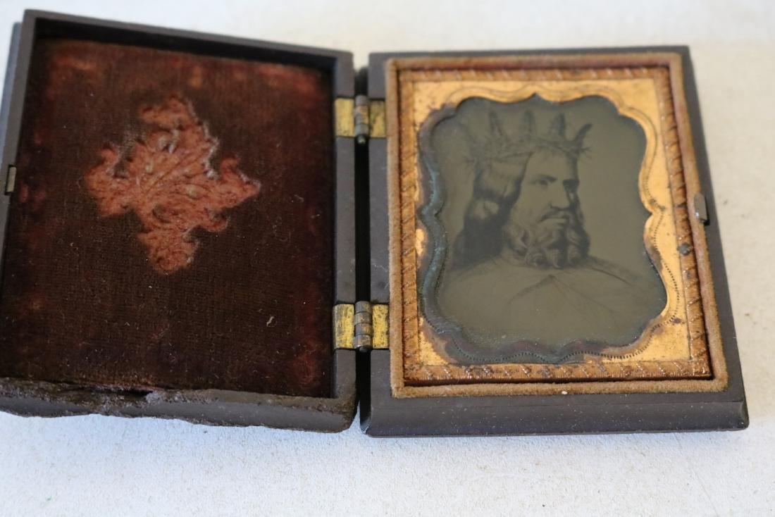 Very Unusual Daguerreotype Photo Man with Crown of