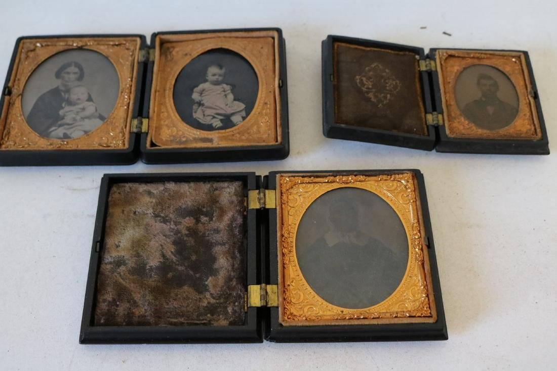 lot of 3 Daguerreotype Photo's with Gutta Percha Cases