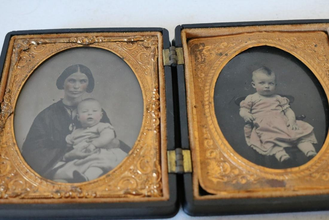lot of 3 Daguerreotype Photo's with Gutta Percha Cases - 2