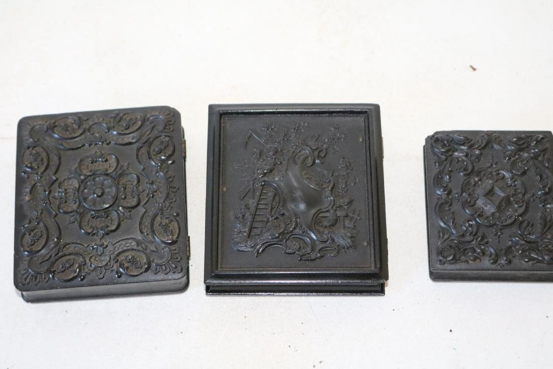 lot of 3 Daguerreotype Photo's with Gutta Percha Cases - 6