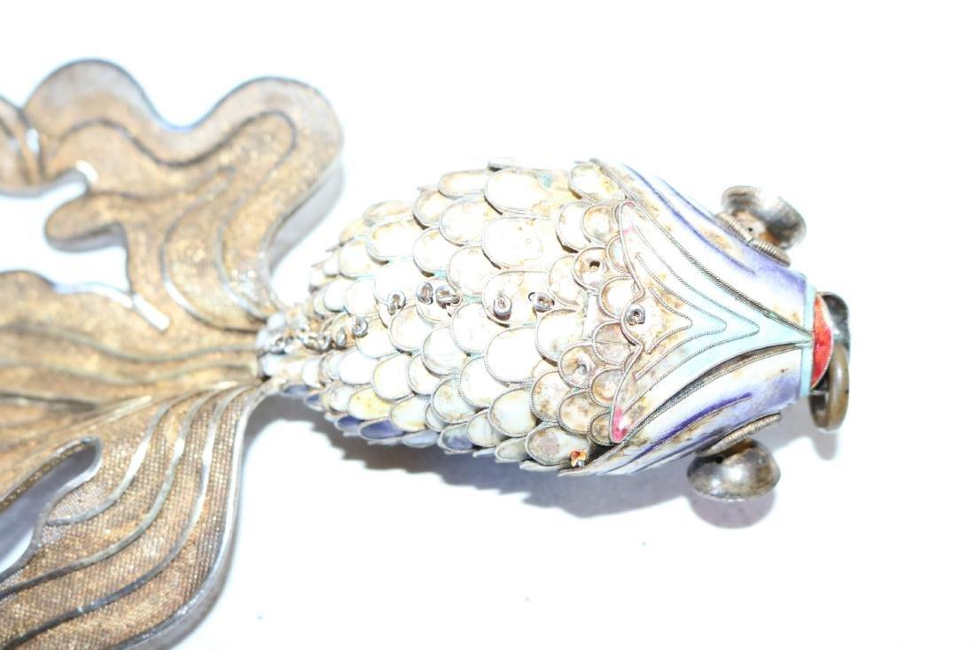 Large Reticulated Enamel Fish Pendant - 6