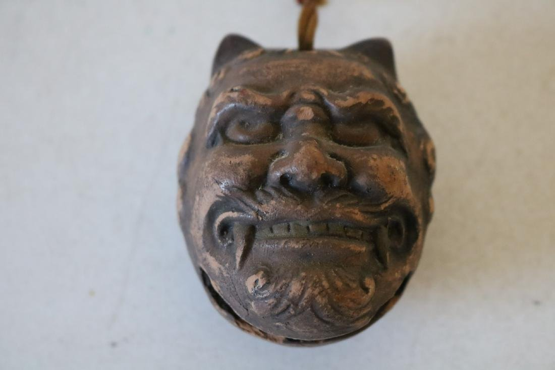 Asian Devil Bell, early Clay, signed