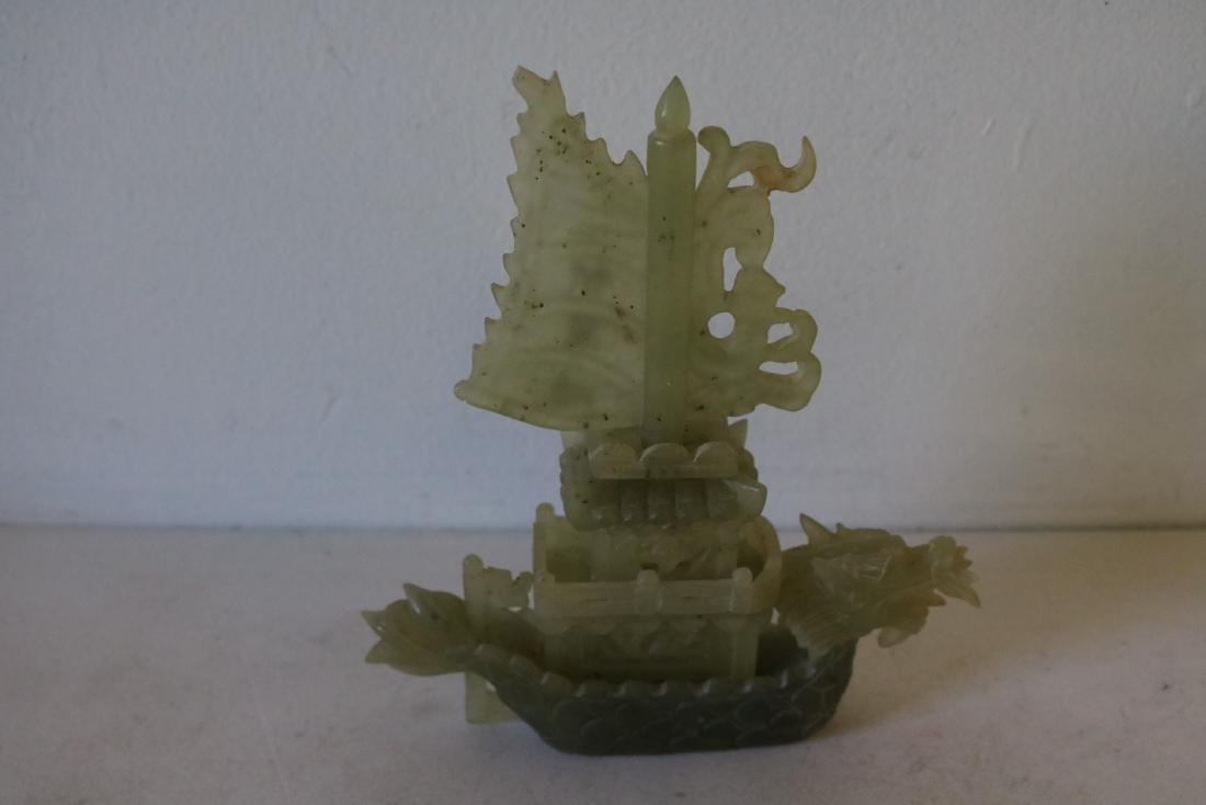 Carved Jade Dragon Boat, signed - 4