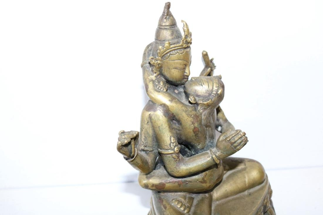 Brass Asian 4 armed God Kissing Goddess - 2