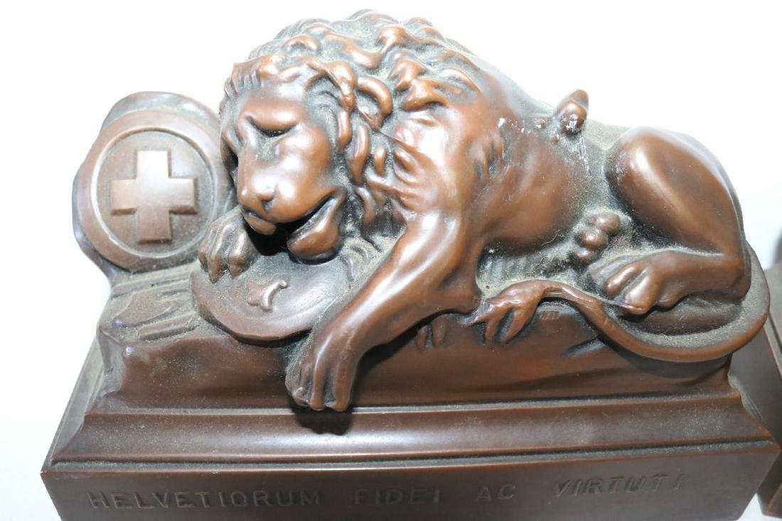 Pair Helvetiorum Fedei AC Virtuti Bronze Lion Bookends - 2
