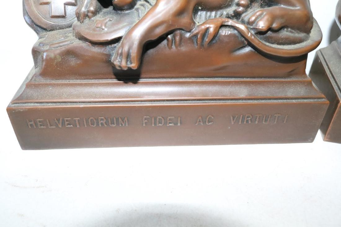 Pair Helvetiorum Fedei AC Virtuti Bronze Lion Bookends - 3
