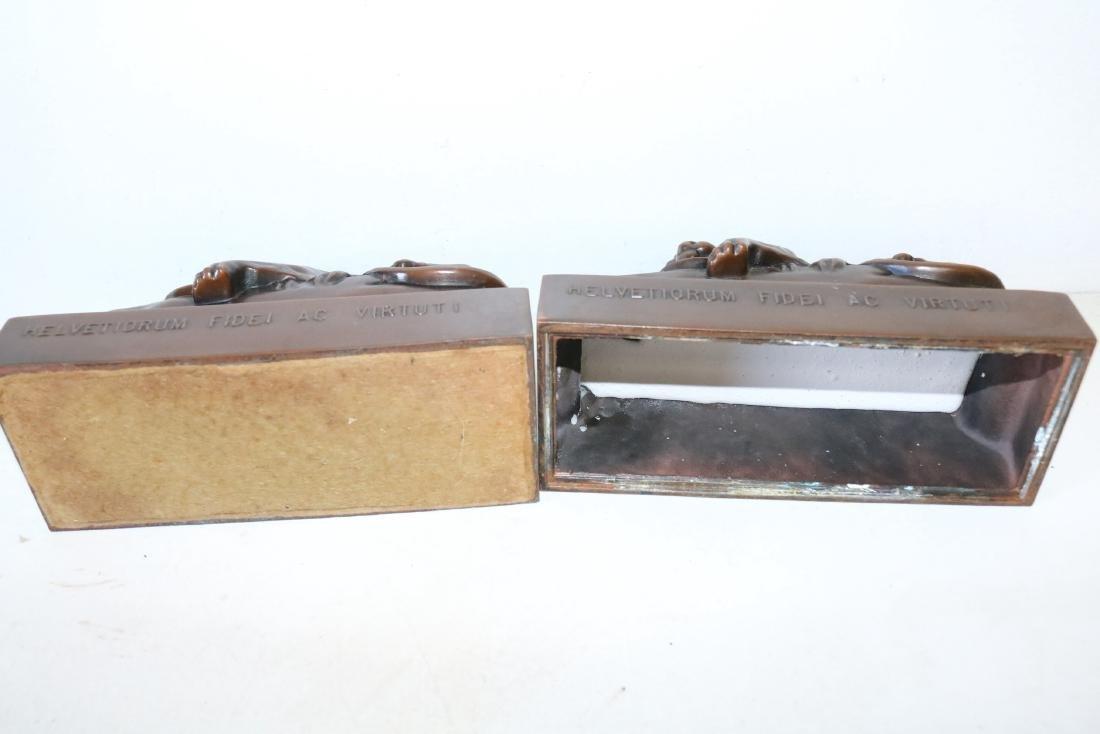 Pair Helvetiorum Fedei AC Virtuti Bronze Lion Bookends - 5