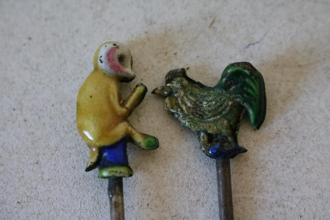 Enamel Hand Painted Asian Chicken (Cock) & Monkey Picks - 2