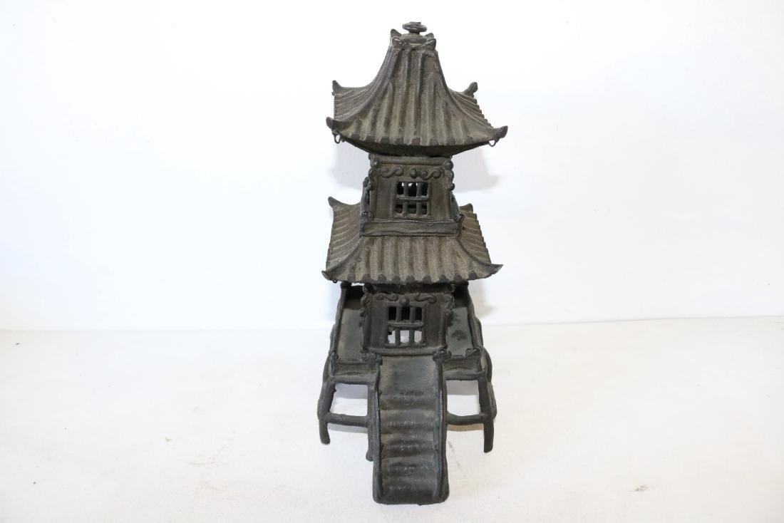 Bronze Asian Pagoda Temple, Incense Burner/Lantern