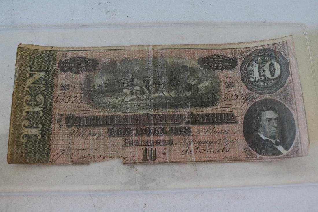 1864 Confederate States America $10 Dollar Note