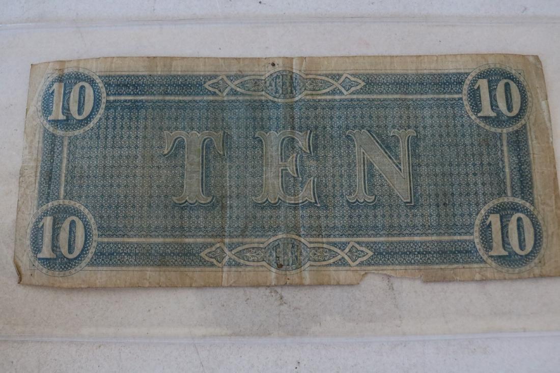 1864 Confederate States America $10 Dollar Note - 2