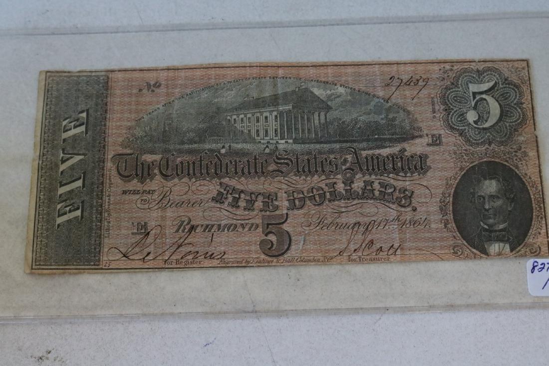 1864 Confederate States America $5 Dollar Note