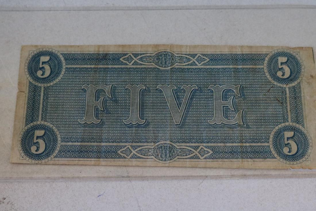 1864 Confederate States America $5 Dollar Note - 2