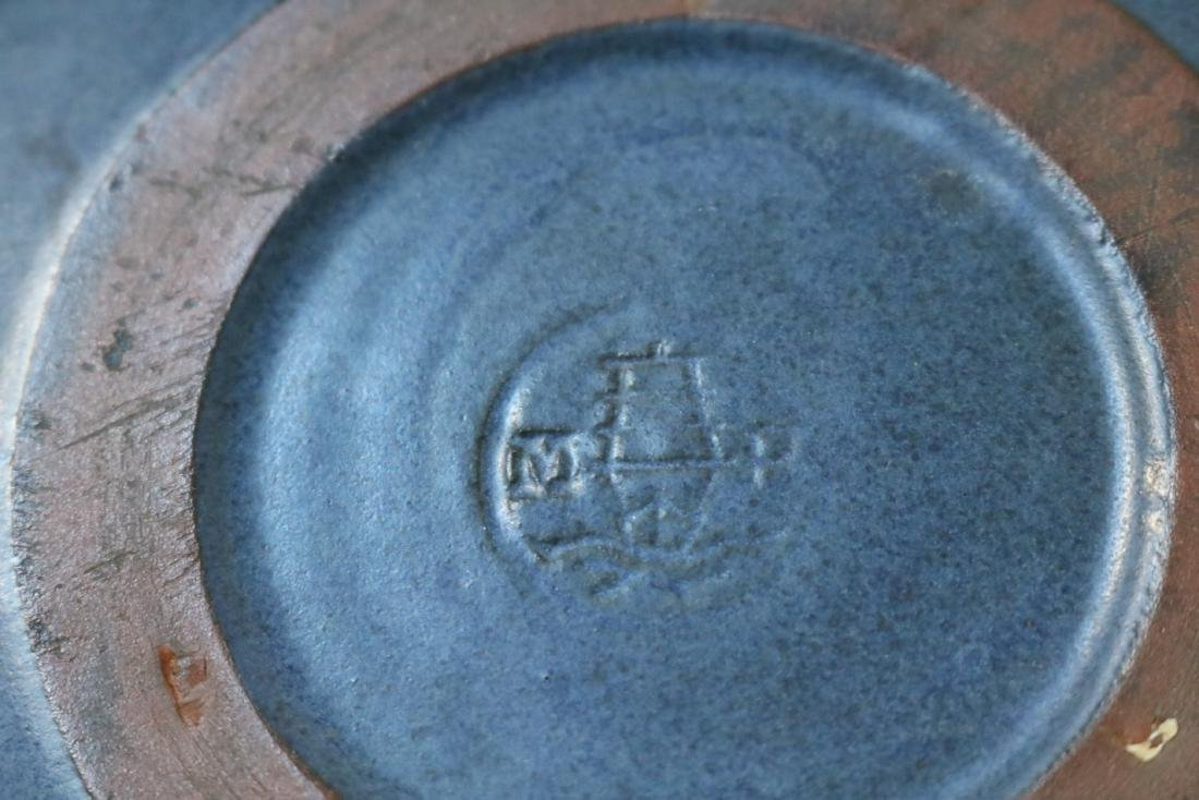 Marblehead Pottery Blue Matte Bowl - 4