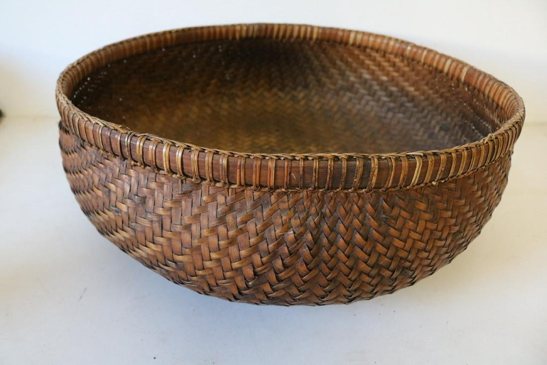 Large Asian Hand Woven Bamboo Basket