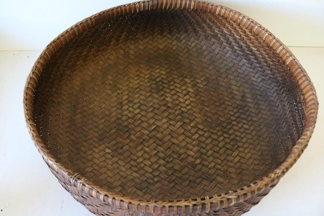 Large Asian Hand Woven Bamboo Basket - 2