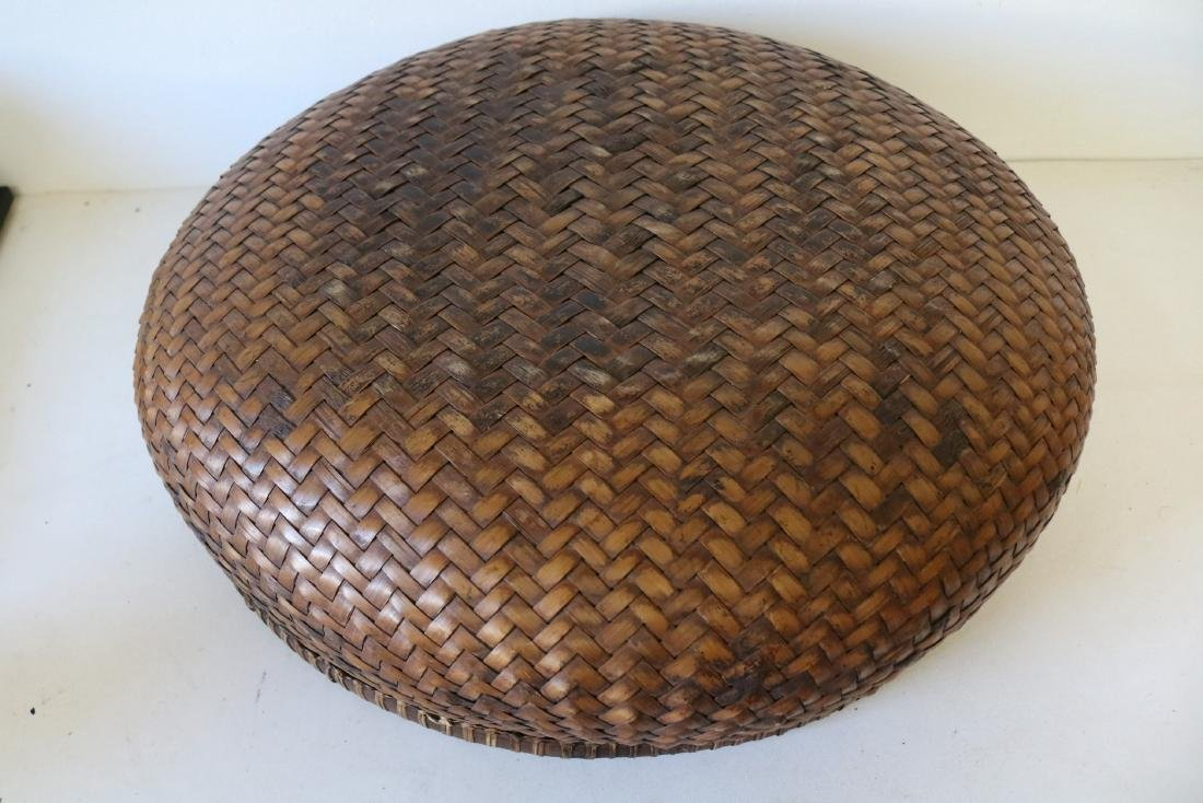 Large Asian Hand Woven Bamboo Basket - 3