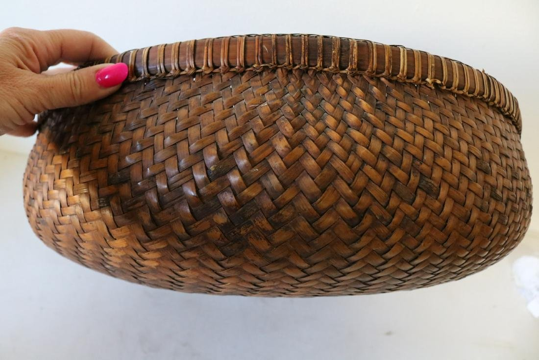 Large Asian Hand Woven Bamboo Basket - 4