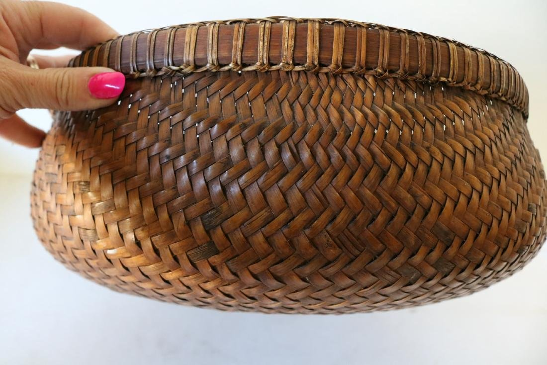 Large Asian Hand Woven Bamboo Basket - 5