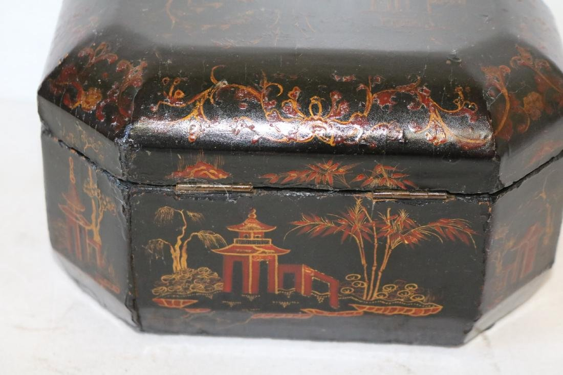 Asian Lacquer Hand Painted Tea Box - 10