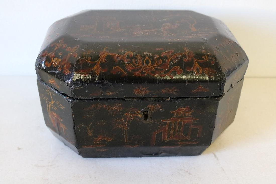 Asian Lacquer Hand Painted Tea Box