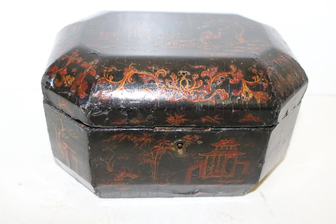 Asian Lacquer Hand Painted Tea Box - 2