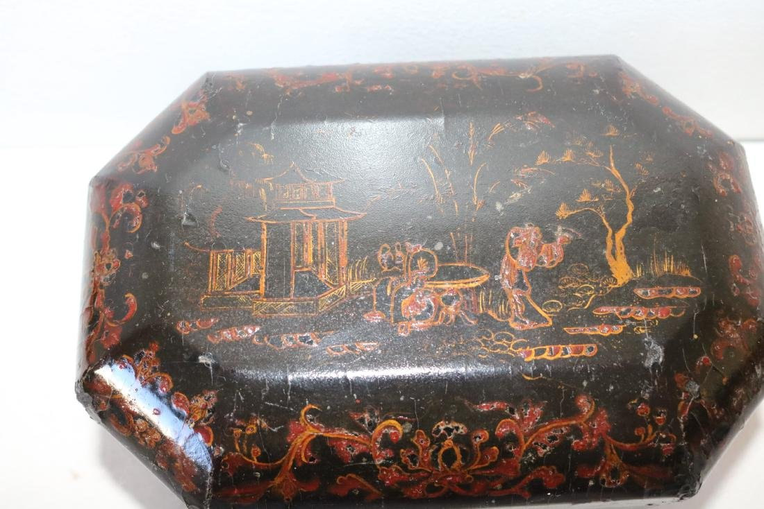 Asian Lacquer Hand Painted Tea Box - 3