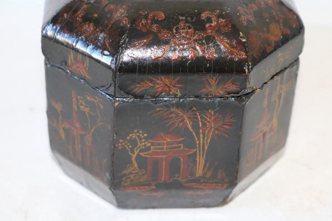 Asian Lacquer Hand Painted Tea Box - 9