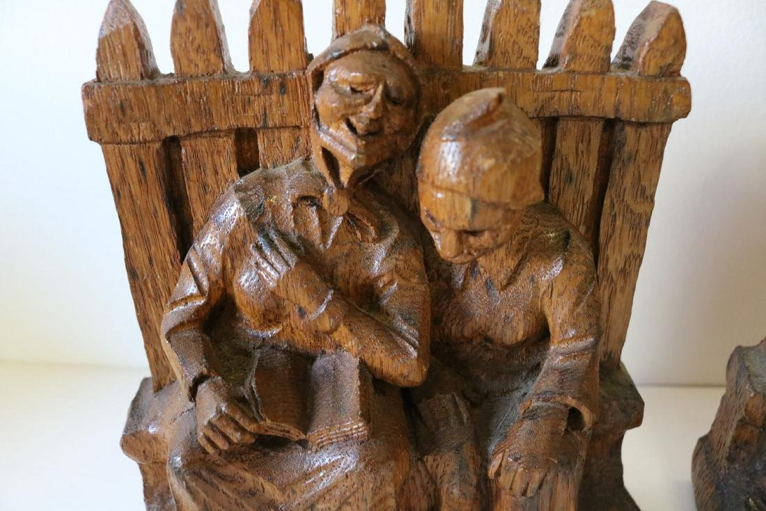 Hand Carved Wood Bookends - 2