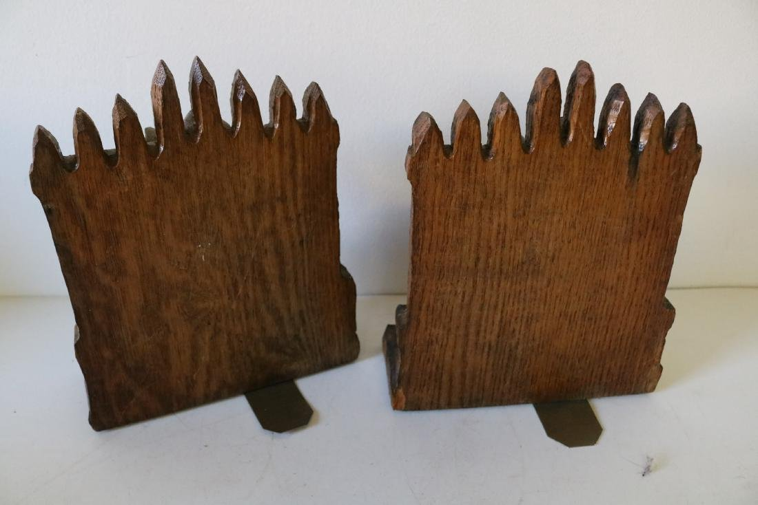 Hand Carved Wood Bookends - 3