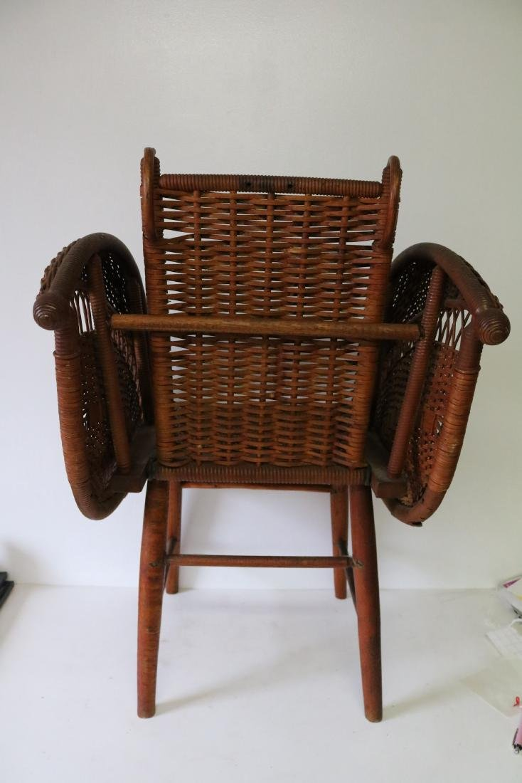 Antique Wicker Heywood Wakefield Childs Chair - 3