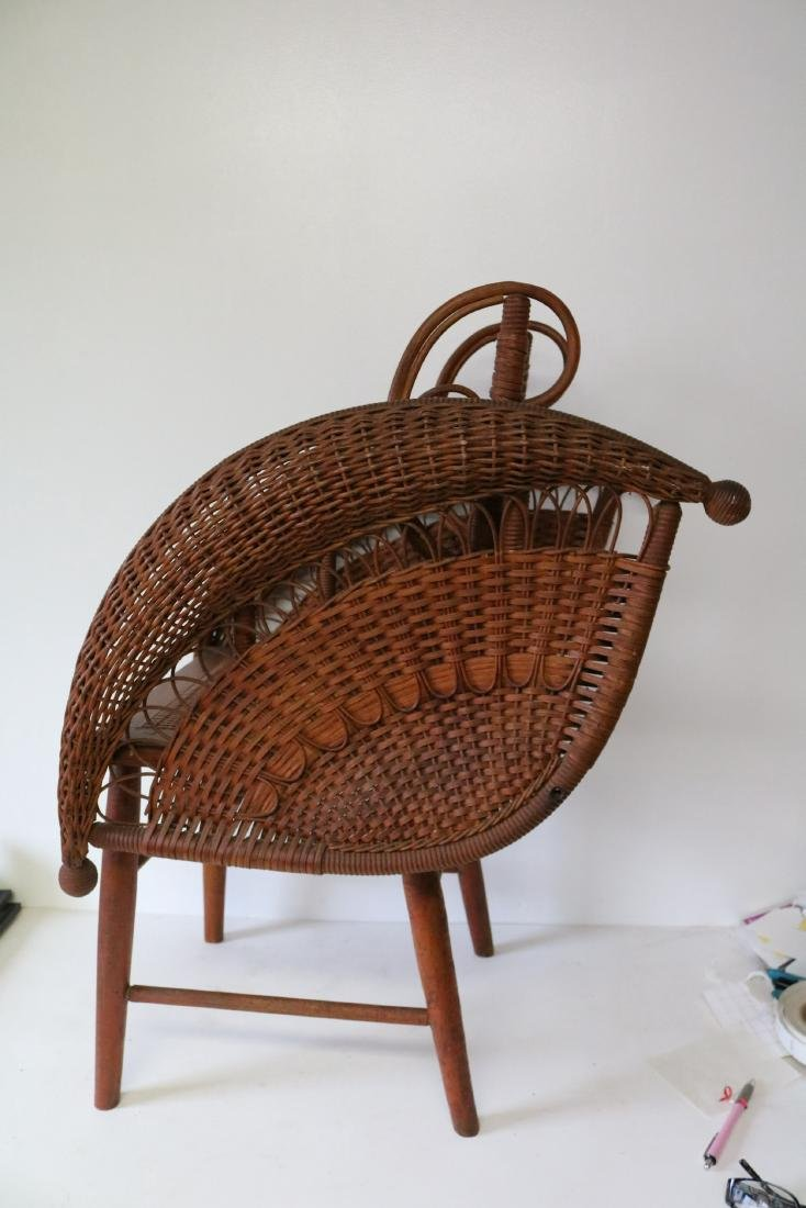 Antique Wicker Heywood Wakefield Childs Chair - 4