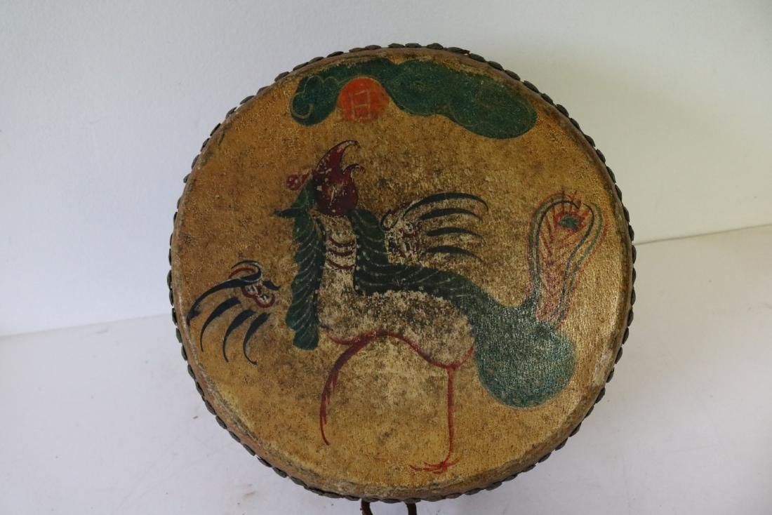 Asian Hand Made, Hand Painted Drum - 3