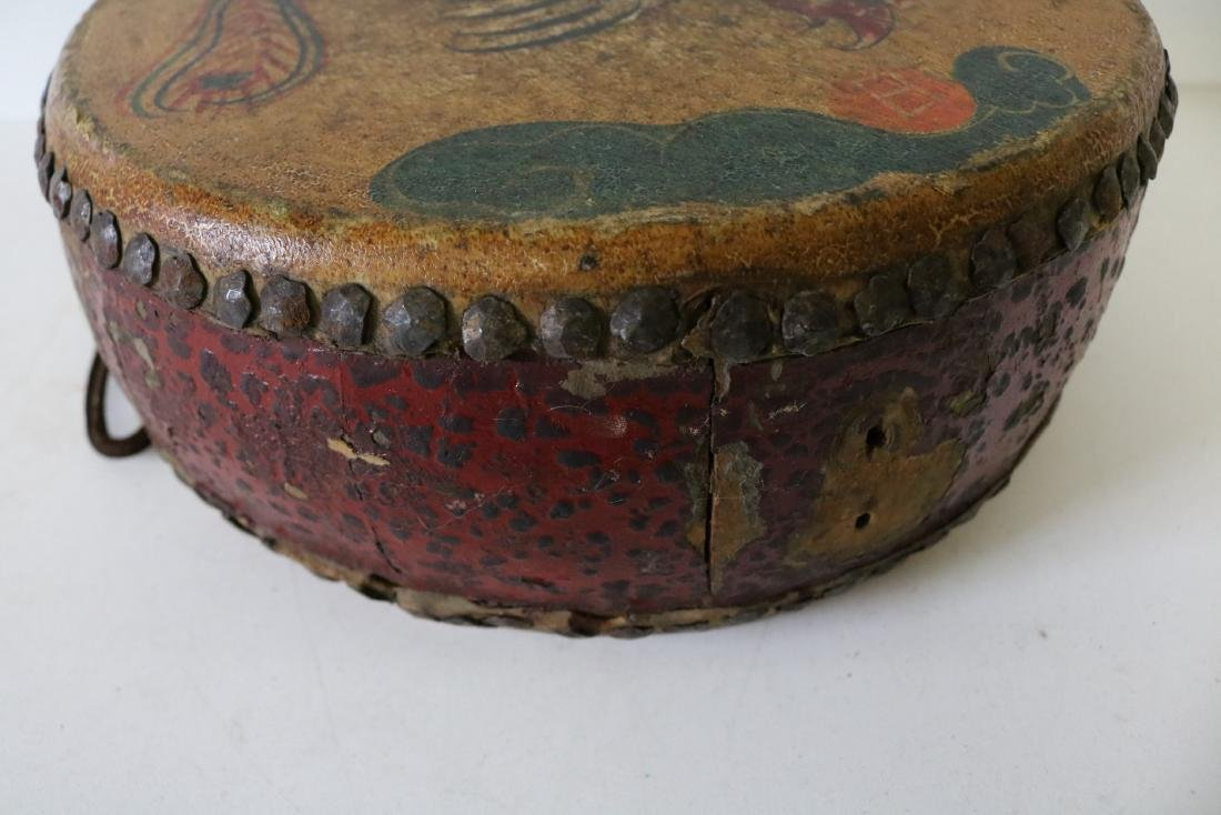 Asian Hand Made, Hand Painted Drum - 4