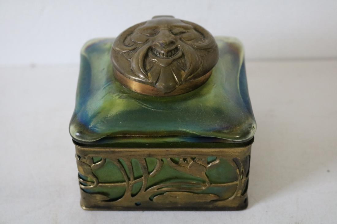 Loetz Art Glass Ink Well with Rams Head Top