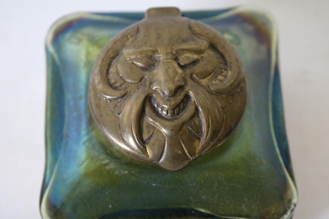 Loetz Art Glass Ink Well with Rams Head Top - 2