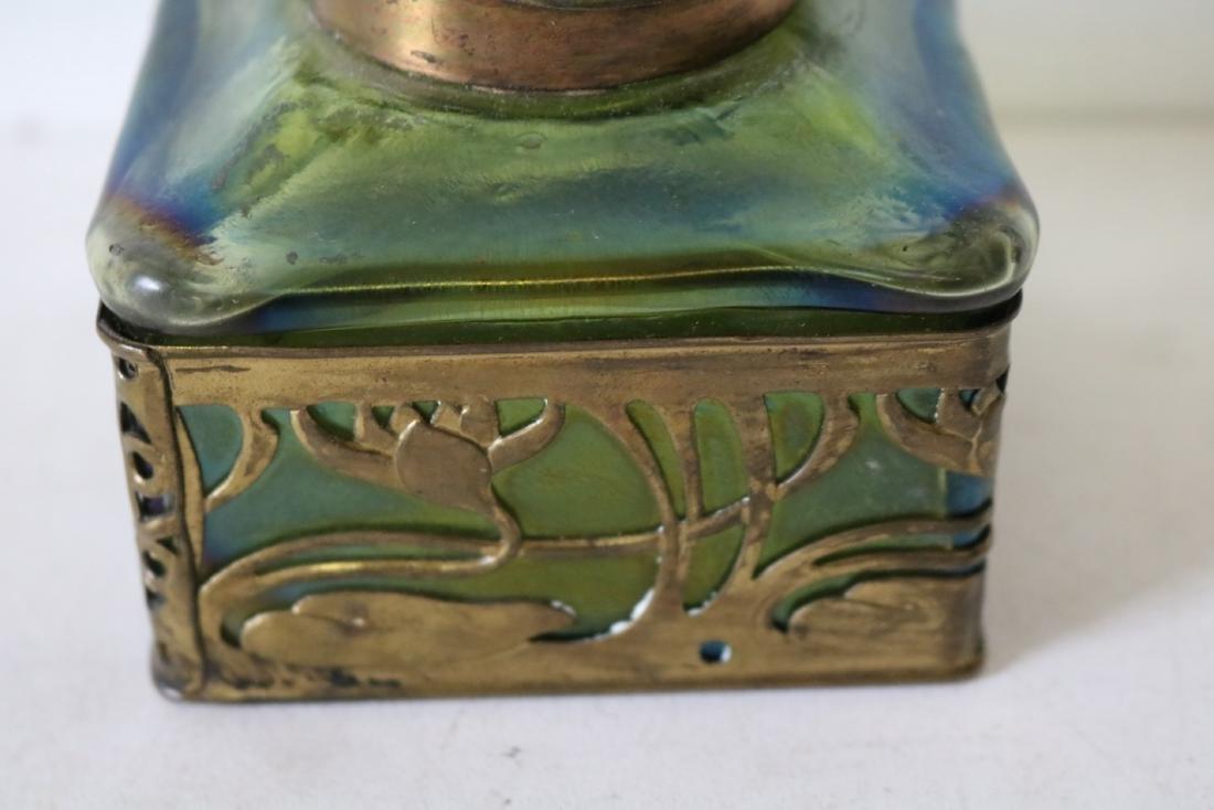 Loetz Art Glass Ink Well with Rams Head Top - 6