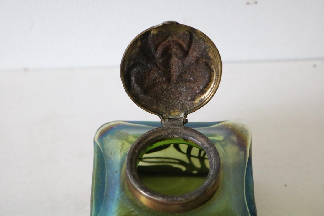 Loetz Art Glass Ink Well with Rams Head Top - 7